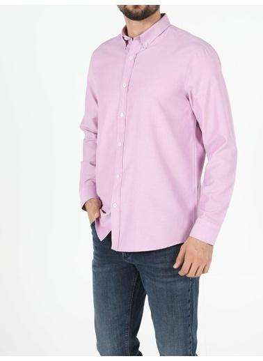 Colin's Regular Fit Shirt Neck Erkek Lila Uzun Kol Gömlek Lila